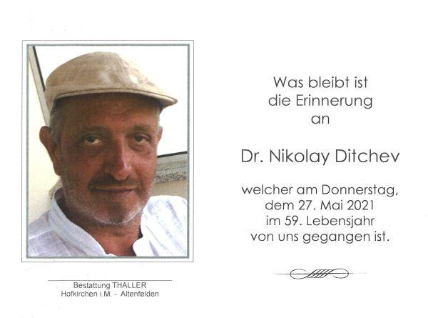 Sterbebild innen Dr. Nikolay Dtichev