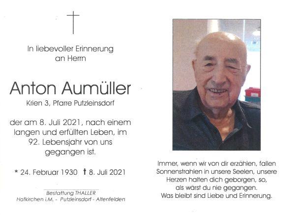 Sterbebild innen Aumüller Anton