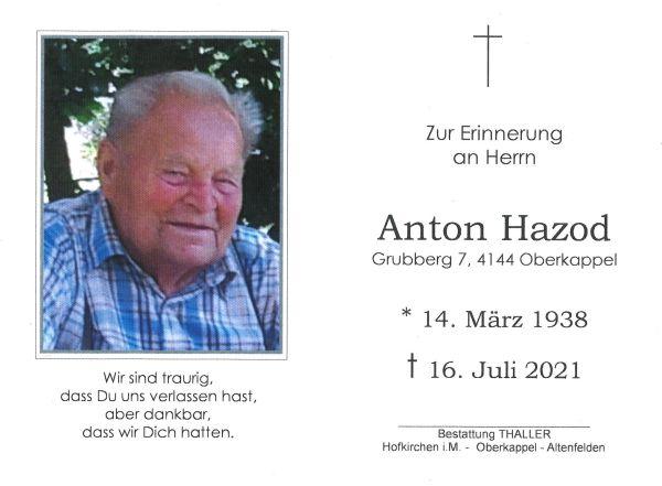 Sterbebild Hazod Anton