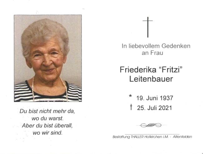 Sterbebild Leitenbauer Friederika