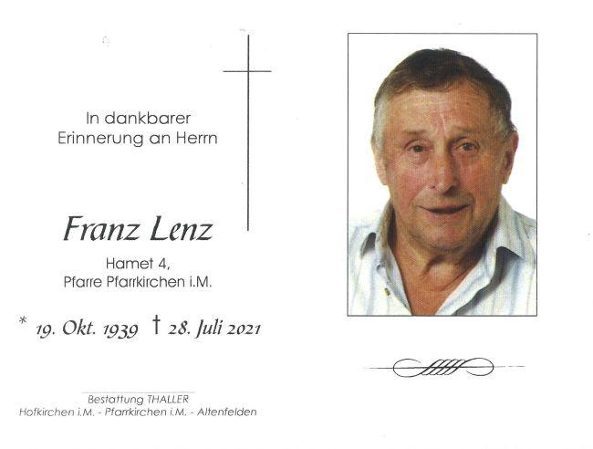 Sterbebild Lenz Franz