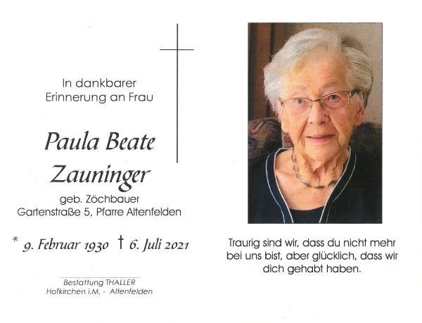 Sterbebild innen Zauninger Paula Beate