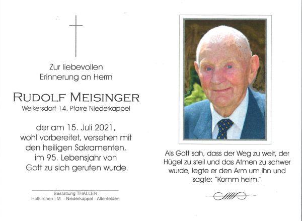 Sterbebild innen Meisinger Rudolf