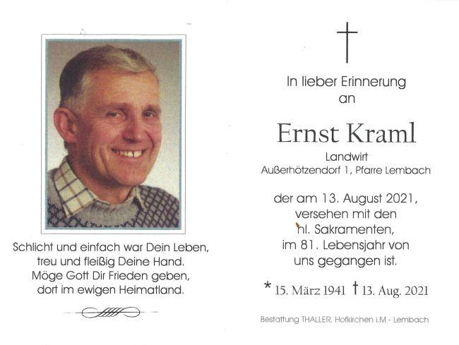 Sterbebild Kraml Ernst