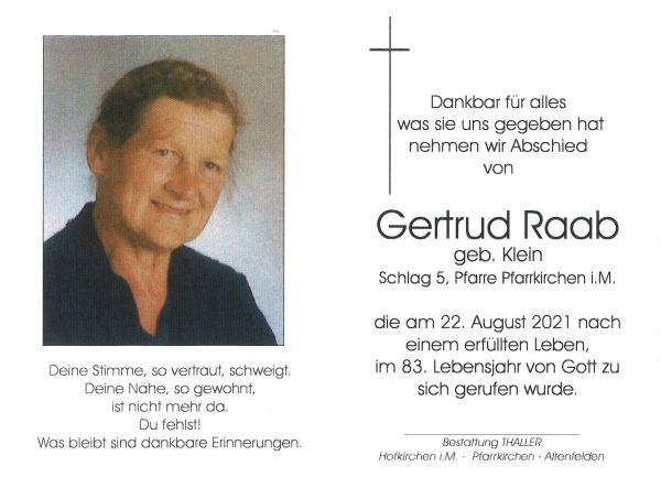Sterbebild Raab Gertrud