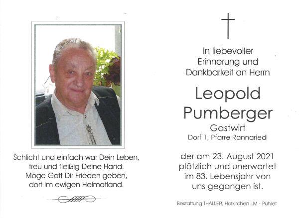 Sterbebild innen Pumberger Leopold