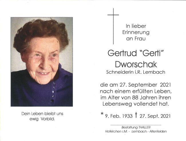 Sterbebild Dworschak Gertrud