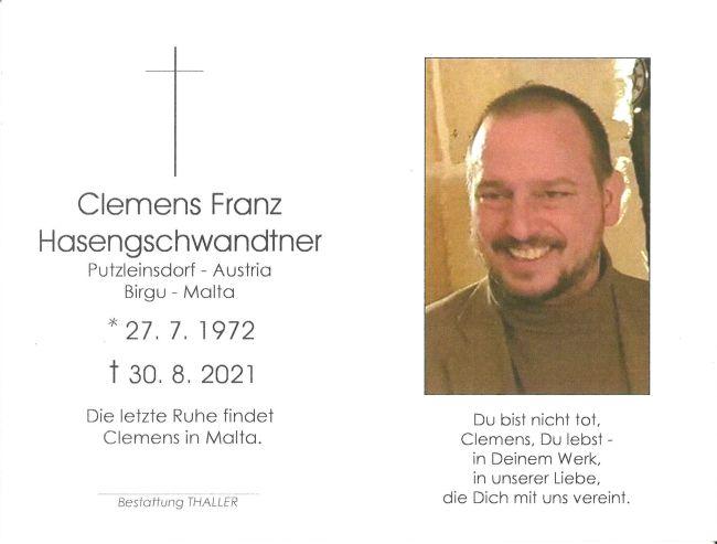 Sterbebild Hasengschwandtner Clemens Franz