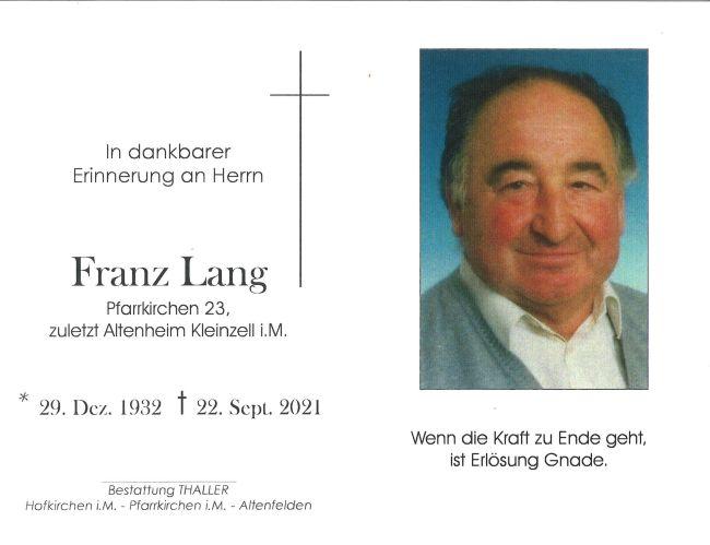 Sterbebild Lang Franz