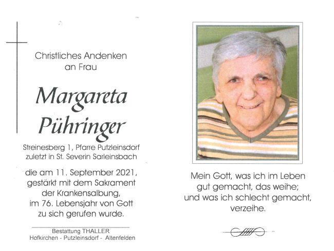 Sterbebild Pühringer Margareta