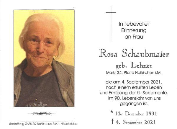 Sterbebild Schaubmaier Rosa
