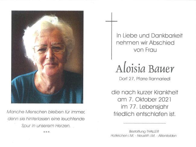 Sterbebild Bauer Aloisia
