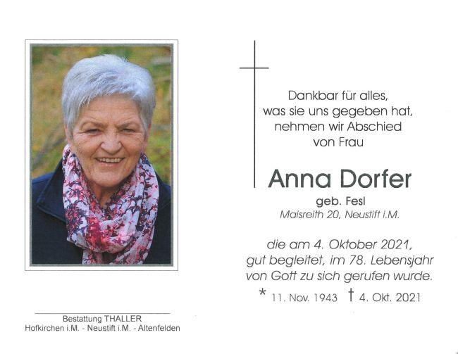 Sterbebild Dorfer Anna