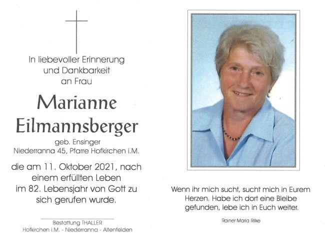 Sterbebild Eilmannsberger Marianne