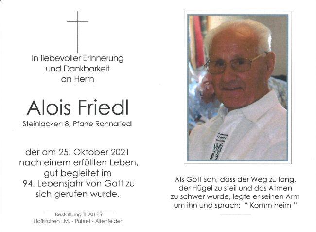 Sterbebild Friedl Alois