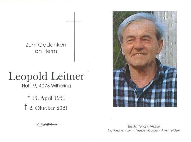 Sterbebild Leitner Leopold
